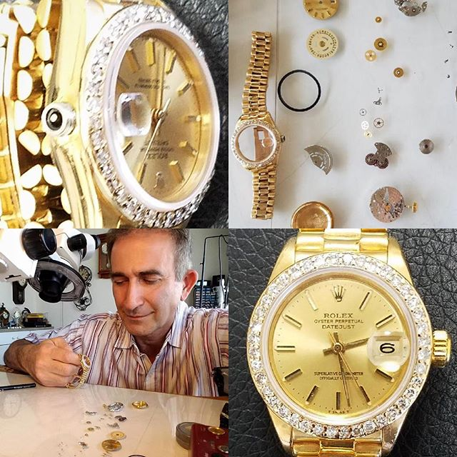 Repairing Rolex Lady President 18k gold with broken crown #watchrepair