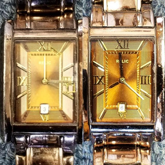Before & After! Re-attaching number markers and date frame that came off the watch dial #watchrepair #friday