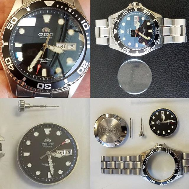 Orient overhaul, flat crystal to domed sapphire crystal replacement #watchrepair