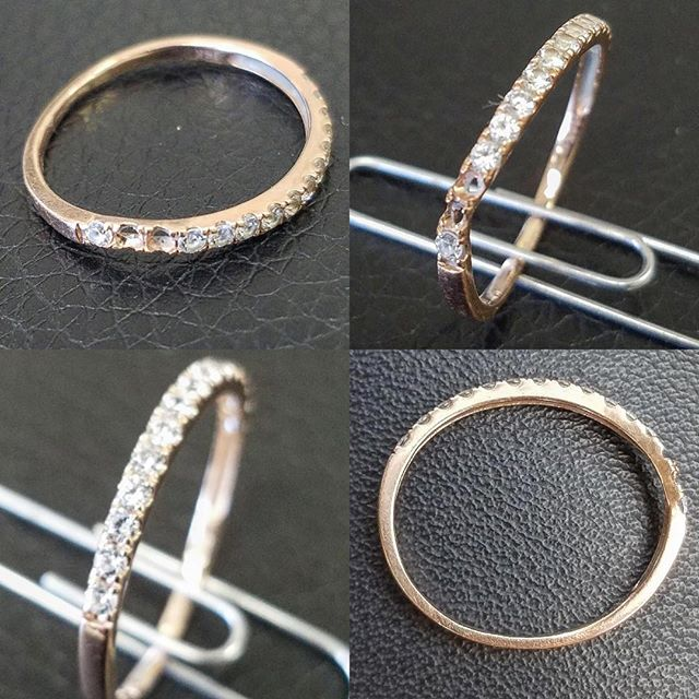 Damaged Ring with Missing Stones Repaired with new diamond stones